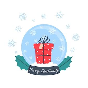 Sfera di cristallo di neve con regalo e fiocchi di neve, illustrazione in stile piatto