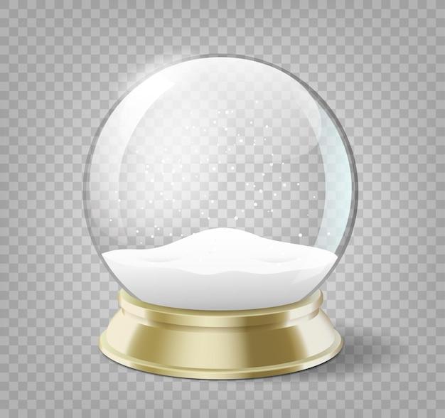 Oggetto realistico di feste del nuovo anno o di natale della palla del globo della neve isolato con ombra