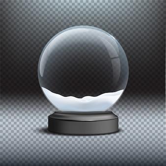 Modello di globo di neve su sfondo trasparente, elemento di design di natale e capodanno.
