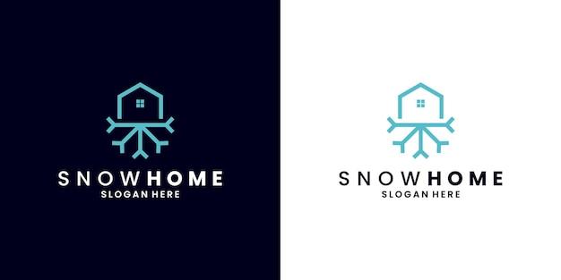 Modello di progettazione del logo della casa di neve. vettore di casa fredda