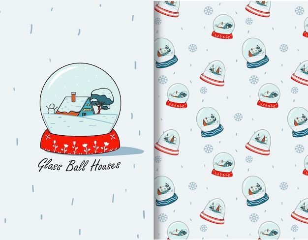 Casa della neve in inverno glass ball seamless pattern per biglietto di auguri