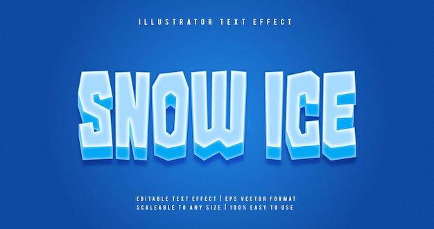Effetto carattere stile testo neve ghiaccio
