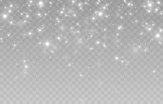 Neve su uno sfondo trasparente isolato. nevicata, bufera di neve, inverno, fiocchi di neve.
