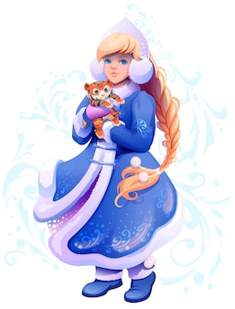 Snow maiden snegurochka tiene tra le mani una piccola tigre simbolo del 2022