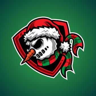 Logo della mascotte di snow man e sport