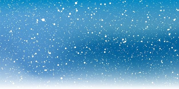 Notte di neve. fiocchi di neve bianchi sul cielo scuro. sfondo di neve che cade.