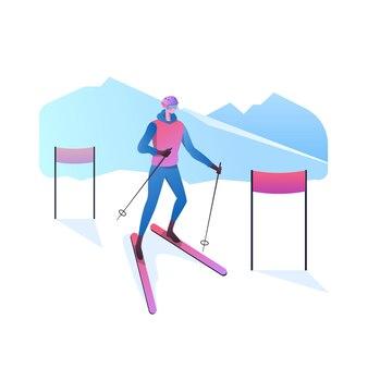 Atleta di sci sulla neve isolato su bianco