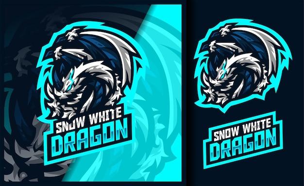 Logo della mascotte del gioco del drago di ghiaccio di biancaneve