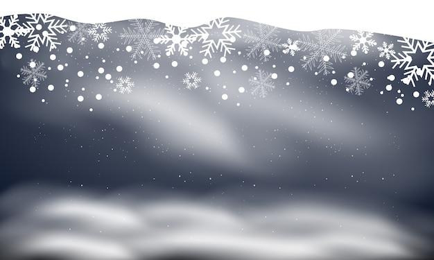 Neve e vento su uno sfondo trasparente. elemento decorativo gradiente bianco, inverno e neve con nebbia.