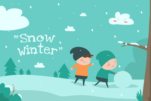 Snow winter flat ilustration cute child desin