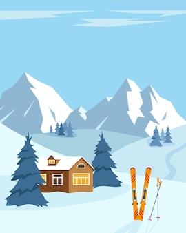 Paesaggio invernale di neve con sci. montagne innevate, alberi e piccola casa. concetto di stazione sciistica.
