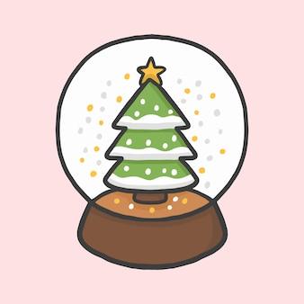 Vettore disegnato a mano di stile del fumetto dell'albero di natale del globo della palla di neve