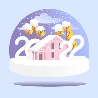 Palla di neve con alberi di casa e neve illustrazione vettoriale felice anno nuovo e sposa il natale 2022