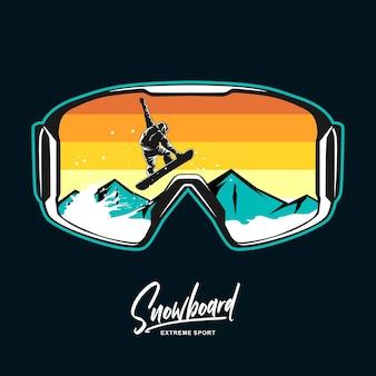 Illustrazione grafica di occhiali da snowboard