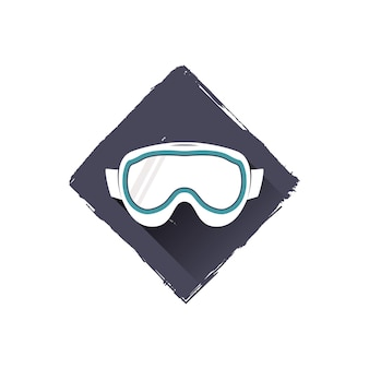 Occhiali da snowboard logo design, simbolo. illustrazione vettoriale d'archivio con ombra. isolato su sfondo bianco.