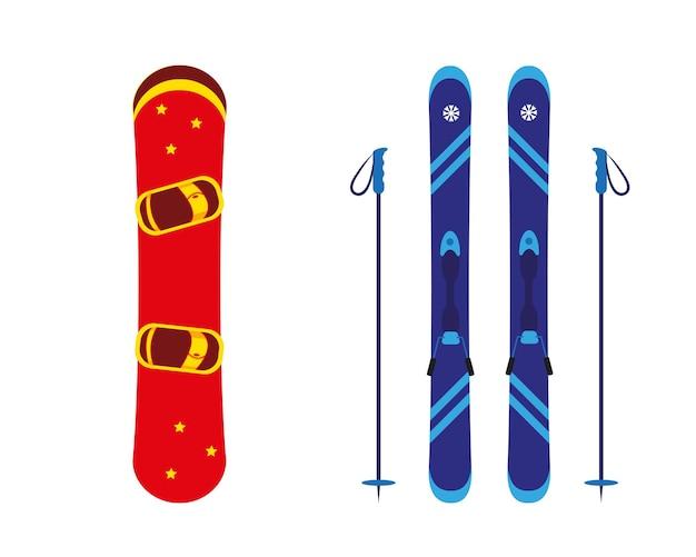 Snowboard, sci e bastoni isolati su priorità bassa bianca.
