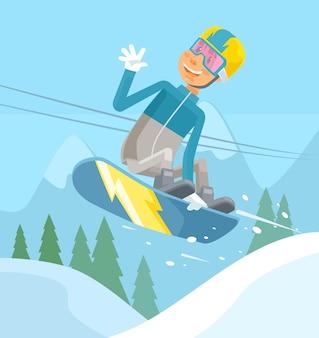 Carattere di snowboarder che salta.