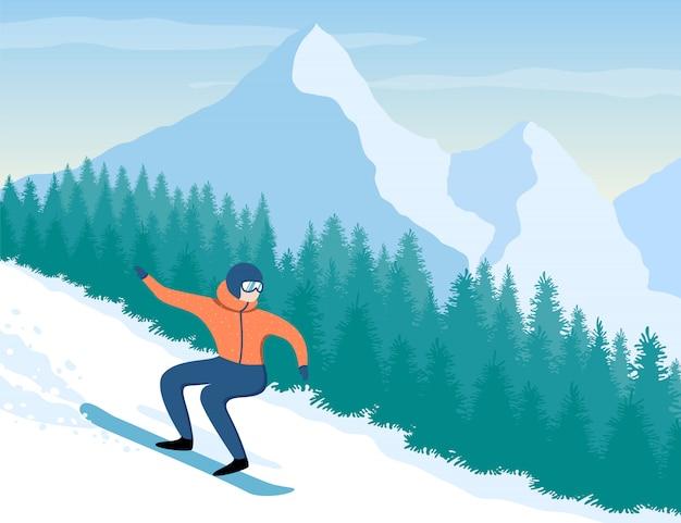 Snowboarder uomo sulle montagne