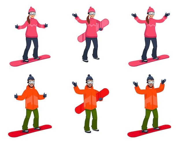 Snowboarder in diverse pose. personaggi maschili e femminili in stile cartone animato.