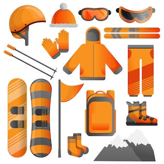 Insieme dell'icona dell'attrezzatura di snowboard, stile del fumetto