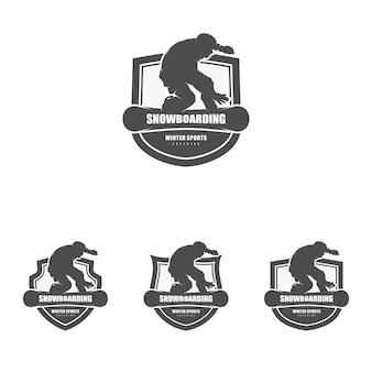 Vettore dell'illustrazione del modello di progettazione del logo dello snowboard