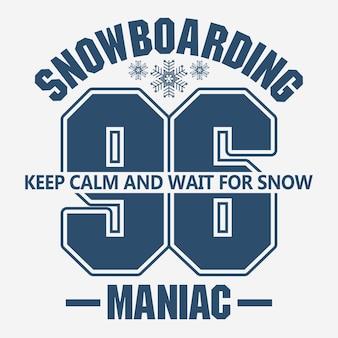 Grafica di moda t-shirt snowboard, emblema degli sport invernali,