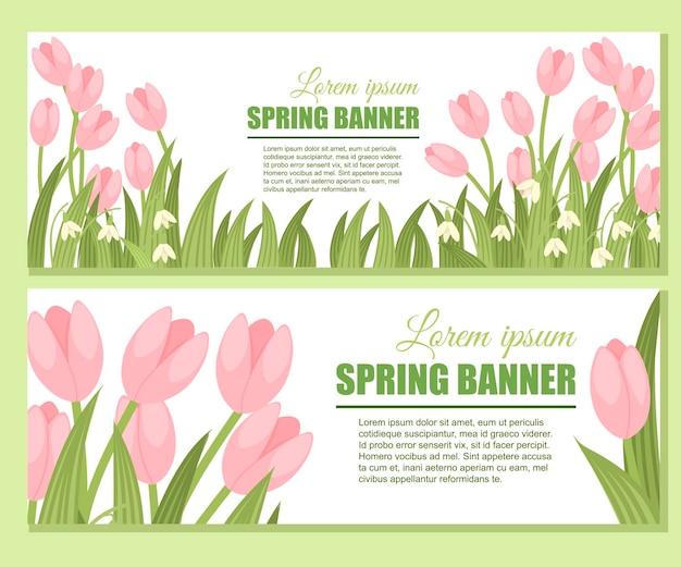 Set di banner primavera bucaneve.