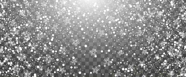 Nevicate e fiocchi di neve che cadono su sfondo trasparente. fiocchi di neve bianchi. illustrazione vettoriale