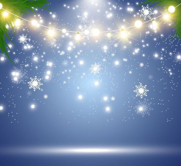 Nevicata. tanta neve su uno sfondo trasparente. sfondo invernale di natale. fiocchi di neve che cadono dal cielo.