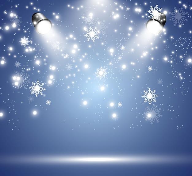 Nevicata. tanta neve su uno sfondo trasparente. fiocchi di neve che cadono dal cielo.