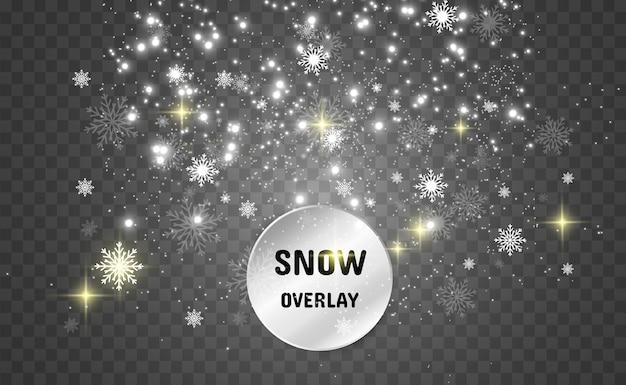 Nevicata. tanta neve su uno sfondo trasparente. sfondo invernale. fiocchi di neve che cadono dal cielo.