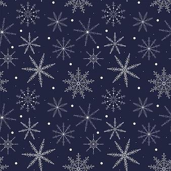 Fiocco di neve natale e capodanno festivo modello senza cuciture fiocchi di neve di pizzo bianco illustrazione vettoriale