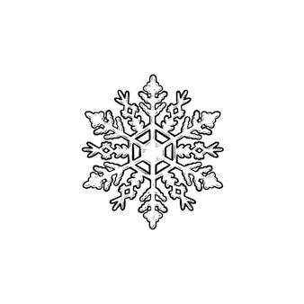 Icona di doodle di contorni disegnati a mano del fiocco di neve. neve e freddo, vacanze invernali e concetto di gelo. illustrazione di schizzo vettoriale per stampa, web, mobile e infografica su sfondo bianco.