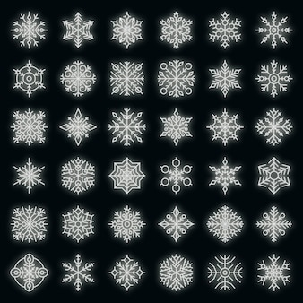 Set di icone del fiocco di neve. contorno set di icone vettoriali fiocco di neve colore neon su nero