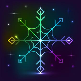 Effetto luci al neon con fiocchi di neve