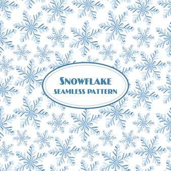 Acquerello senza cuciture del modello del fiocco di neve su fondo bianco