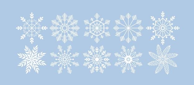 Insieme di vettore della siluetta del fiocco di neve elementi di vacanze di natale e capodanno per biglietto di auguri winter