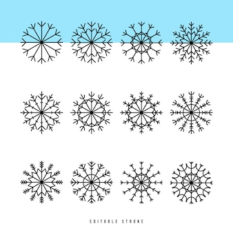 Set di icone di sottile linea di fiocco di neve. outline web sign kit di neve. collezione di icone lineari invernali come cristallo, esagono, ghiaccio, motivo innevato. tratto modificabile senza riempimento.
