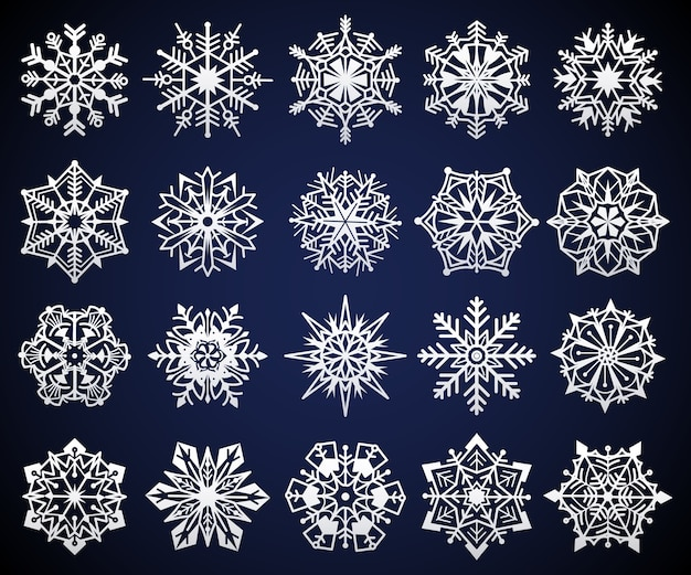 Fiocco di neve. elementi di cristallo di neve di natale invernale, pittogramma di stelle fredde congelate, simbolo ghiacciato di fiocchi di neve ghiacciati, set di fiocchi geometrici festivi in cristallo