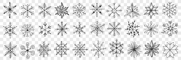 Insieme di doodle di fiocchi di neve.