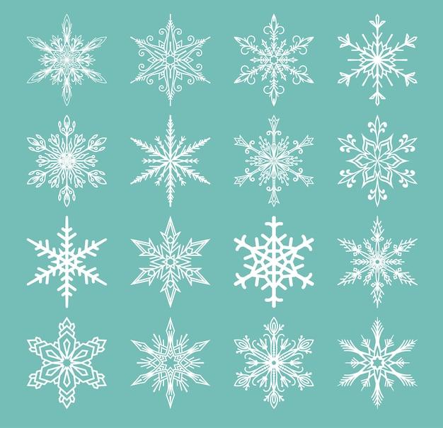 Le icone dei fiocchi di neve hanno congelato la stella del gelo della decorazione di natale fiocchi dell'inverno della neve elemets illustartion di festa di natale