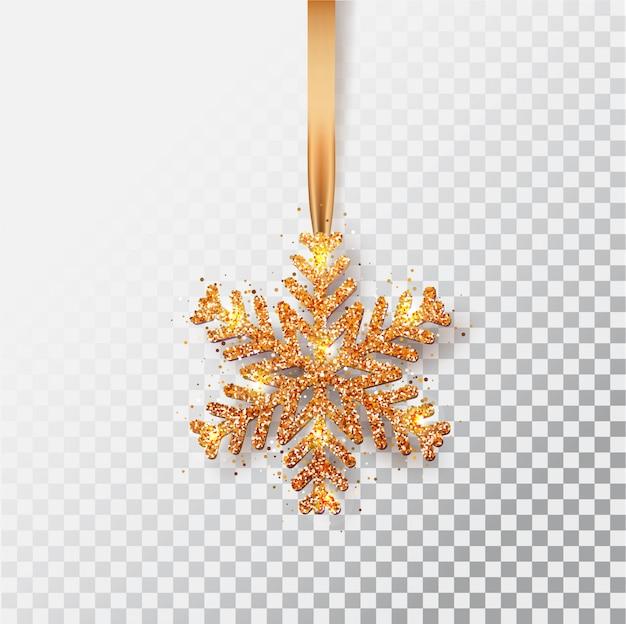 Fiocchi di neve su un nastro. biglietto di auguri, invito con felice anno nuovo 2021 e natale. fiocco di neve di natale in bronzo metallizzato, decorazione, coriandoli scintillanti e lucenti.