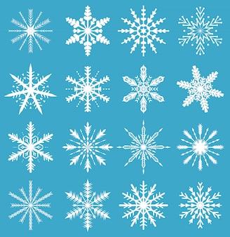 Set di fiocchi di neve icone. per lo sfondo di natale. illustrazione