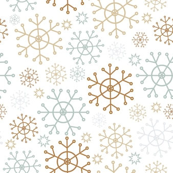 Fiocchi di neve semplice motivo senza cuciture di natale una collezione di tessuti retrò