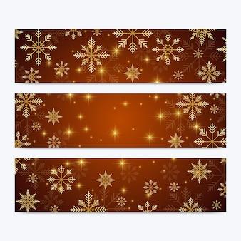 Set di banner di fiocchi di neve e stelle