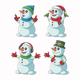 Illustrazione del set di caratteri del pupazzo di neve