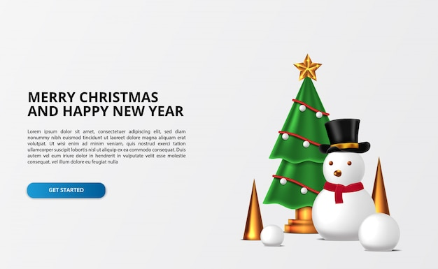 Personaggio pupazzo di neve con decorazione albero di natale con palla di neve e cono dorato. buon natale e felice anno nuovo