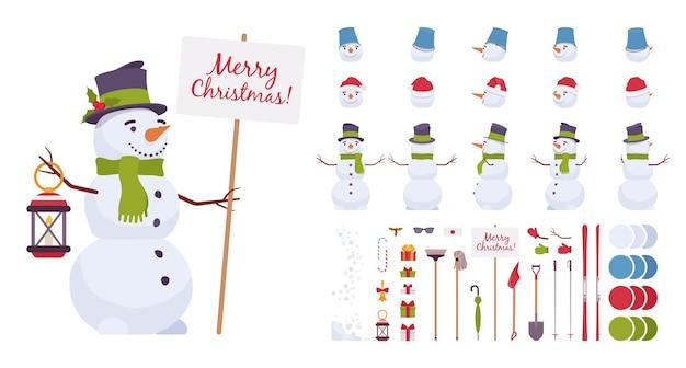 Set di costruzioni natalizie pupazzo di neve, figura tradizionale, simpatico modello di neve natalizia per la decorazione del nuovo anno, elemento di creazione festivo per costruire il tuo design