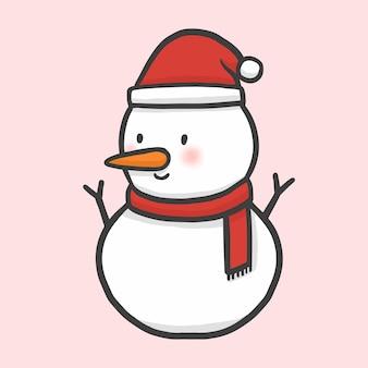 Vettore disegnato a mano di stile del fumetto di natale del pupazzo di neve Vettore Premium