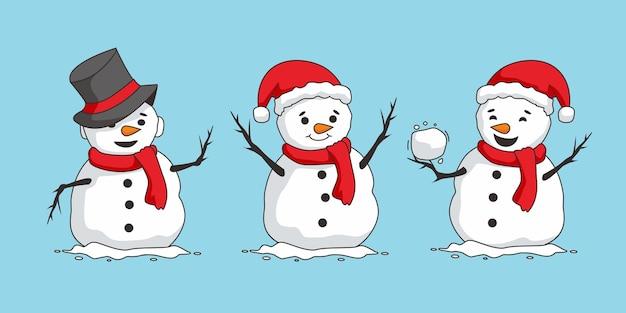 Set di caratteri di natale carino pupazzo di neve